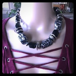 Black & Silver Big Chunky Bead Necklace/Earrings